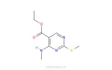 CAS:76360-82-2_4-甲胺基-2-甲硫基-5-嘧啶甲酸乙酯的分子结构