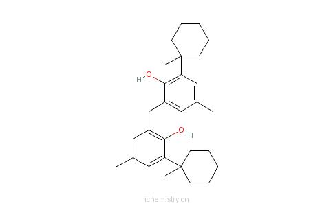 CAS:77-62-3_2,2'-亚甲基二[4-甲基-6-(1-甲基环己基)]苯酚的分子结构