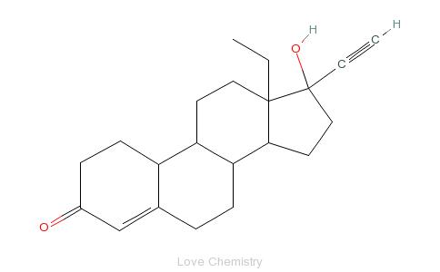 CAS:797-63-7_左炔诺孕酮的分子结构