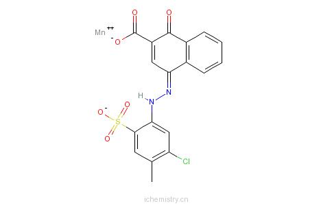 CAS:80822-72-6_4-[(5-氯-4-甲基-2-磺苯基)偶氮]-1-羟基-2-萘羧酸的二价锰盐的分子结构