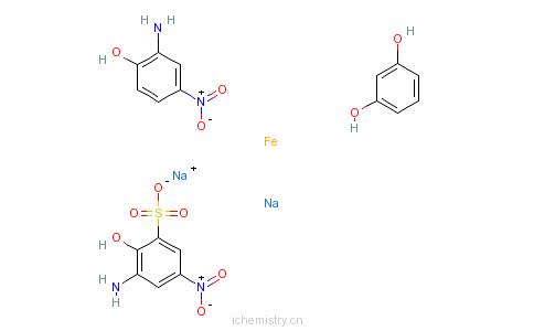 CAS:82640-18-4_重氮化的3-氨基-2-羟基-5-硝基苯磺酸单钠与铁的复合物与重氮化的2-氨基-4-硝基酚和间苯二酚偶合物钠盐的分子结构