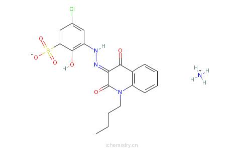 CAS:83784-10-5_3-[(1-丁基-1,2-二氢-4-羟基-2-氧代-3-喹啉基)偶氮]-5-氯-2-羟基-苯磺酸单铵盐的分子结构