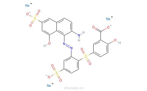 CAS:83784-15-0_5-[[2-[(2-氨基-8-羟基-6-磺基-1-萘基)偶氮]-4-磺基苯基]磺酰基]-2-羟基-苯甲酸钠盐的分子结构