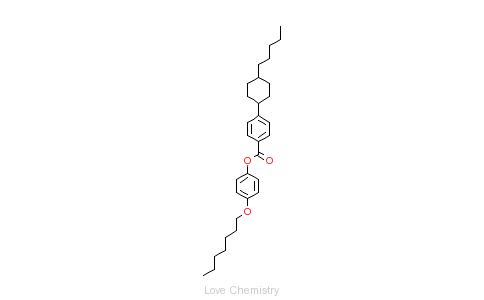 CAS:84601-02-5_4-反式-(4-戊基环己基)苯甲酸对庚氧基苯酚酯的分子结构