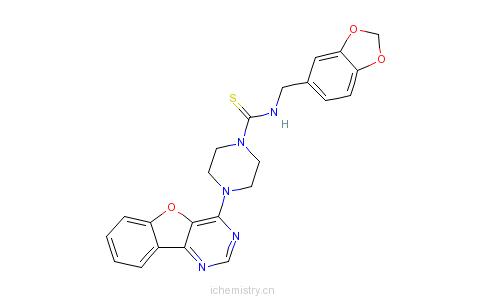 CAS:850879-09-3_N-(1,3-苯并二氧戊环-5-基甲基)-4-苯并呋喃并[3,2-D]嘧啶-4-基-1-哌嗪硫代甲酰胺的分子结构