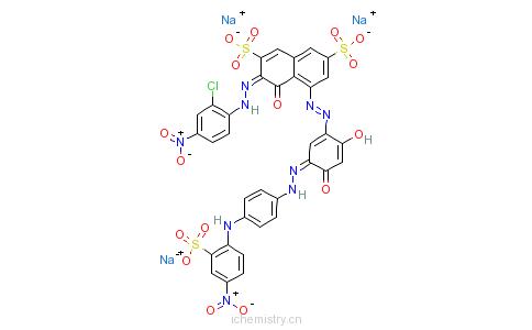 CAS:85391-42-0_3-[(2-氯-4-硝基苯基)偶氮]-5-[[2,4-二羟基-5-[[4-[(4-硝基-2-磺苯基)氨基]苯基]偶氮]苯基]偶氮]-4-羟基-2,的分子结构