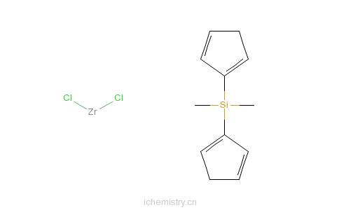 CAS:86050-32-0_二甲基硅基双(环戊二烯基)二氯化锆的分子结构