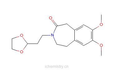 CAS:866462-51-3_3-[2-(1,3-二氧杂环戊烷-2-基)乙基]-7,8-二甲氧基-1,3,4,5-四氢-2H-3-苯并氮杂卓-2-酮的分子结构