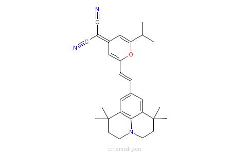 CAS:870075-87-9_2-[2-异丙基-6-[2-(2,3,6,7-四氢-1,1,7,7-四甲基-1H,5H-苯并[ij]喹嗪-9-基)乙烯基]-4H-吡喃-4-亚基]丙二腈的分子结构