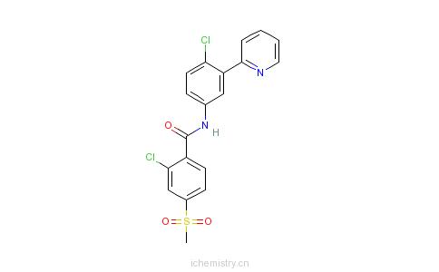 CAS:879085-55-9_2-氯-N-[4-氯-3-(2-吡啶基)苯基]-4-(甲磺酰基)苯甲酰胺的分子结构
