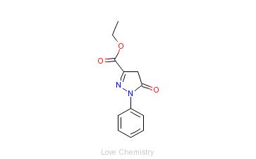 CAS:89-33-8_1-苯基-5-吡唑啉酮-3-甲酸乙酯的分子结构