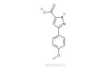 CAS:890006-68-5_3-(4-甲氧基苯)-1H-吡唑-5-羧酸的分子结构