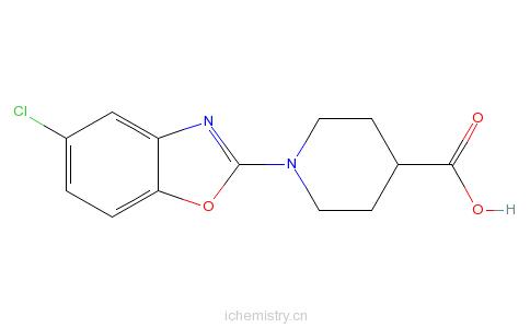 CAS:936074-51-0_1-(5-氯-2-苯并恶唑基)-4-哌啶羧酸的分子结构