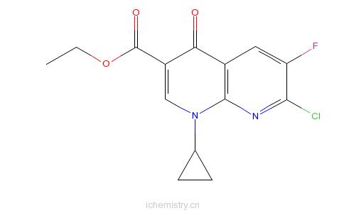 CAS:96568-07-9_环丙基萘啶羧酸乙酯的分子结构