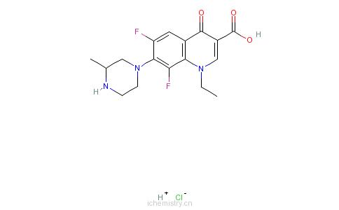 CAS:98079-52-8_盐酸洛美沙星的分子结构