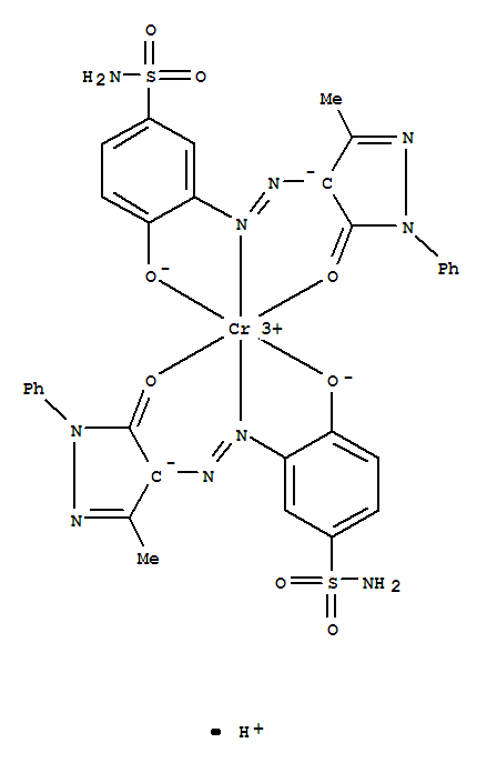 CAS:30112-70-0_双[3-[[4,5-二氢化-3-甲基-5-(氧代-O)-1-苯基-1H-吡唑-4-基]偶氮-N']-4-(羟基-O)苯磺酰胺(2-)]-铬酸氢盐(1-的分子结构