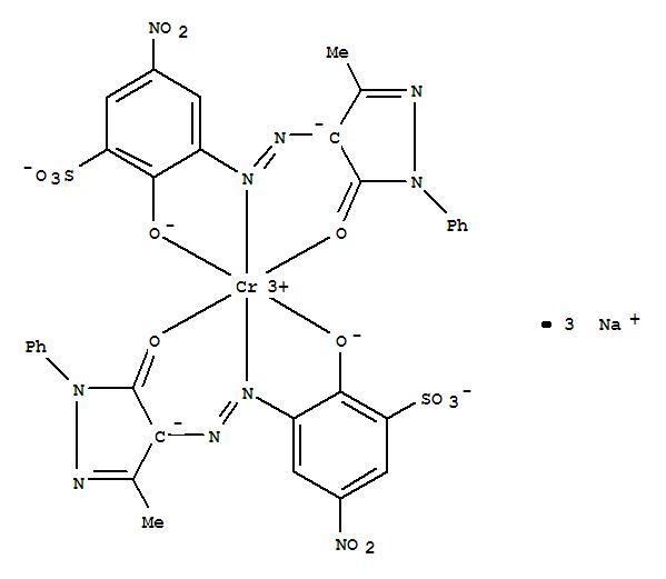 CAS:55809-98-8_二[3-[(4,5-二氢-3-甲基-5-氧代-1-苯基-1H-吡唑-4-基)偶氮]-2-羟基-5-硝基苯磺酸根合(3-)]铬酸(3-)三钠的分子结构