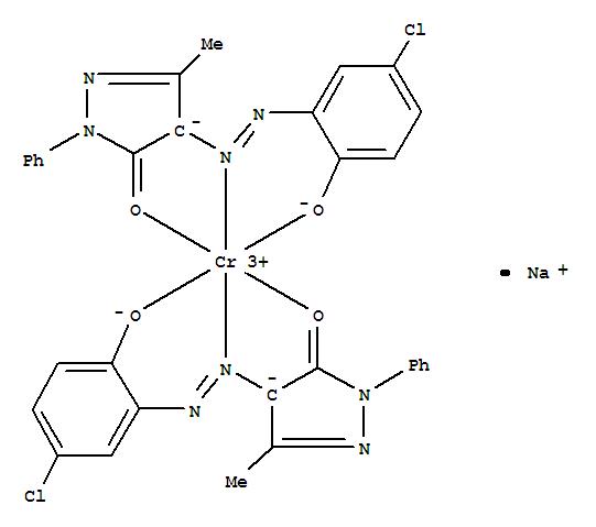 CAS:64560-71-0_二[4-[(5-氯-2-羟苯基)偶氮]-2,4-二氢-5-甲基-2-苯基-3H-吡唑-3-酮酸根]铬酸钠4-[(5-氯-2-羟苯基)偶氮]-2,4的分子结构