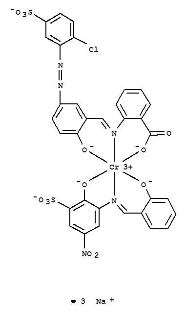 CAS:64611-72-9_[2-[[[5-[(2-氯-5-磺基苯基)偶氮]-2-羟苯基]亚甲基]氨基]苯甲酸根合(3-)][2-羟基-3-[[(2-羟基苯基)亚甲基]?的分子结构