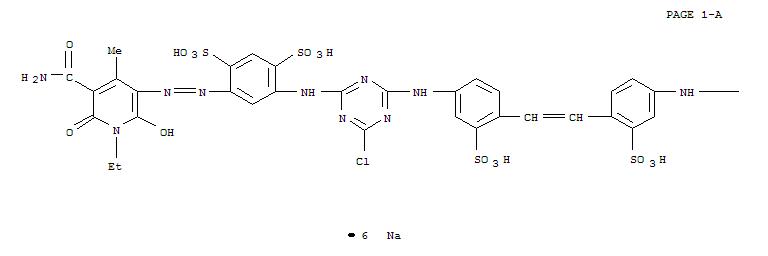 CAS:68991-98-0_4,4'-[1,2-乙烯二基双[(3-磺基-4,1-亚苯基)亚氨基(6-氯-1,3,5-三嗪-4,2-二基)亚氨基]]双[6-[[5-氨基羰基-1-的分子结构