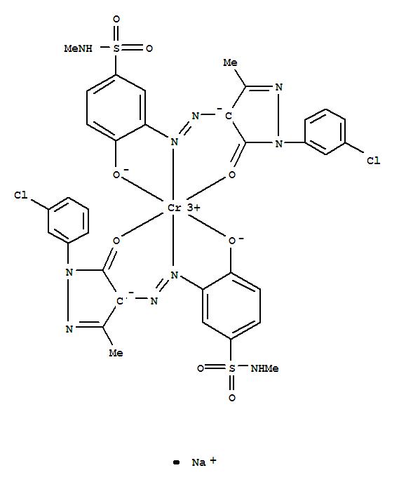 CAS:71839-81-1_二[3-[[1-(3-氯苯基)-4,5-二氢-3-甲基-5-氧代-1H-4-吡唑基]偶氮基]-4-羟基-N-甲基苯磺酰胺(2-)]合铬(1-)酸?的分子结构