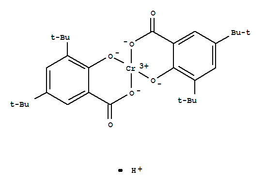 CAS:72869-85-3_(T-4)-二[3,5-二(1,1-二甲基乙基)-2-羟基苯甲酸根-O1,O2]铬酸氢盐3,5-二(1,1-二甲基乙基)-2-羟基苯甲酸铬配的分子结构