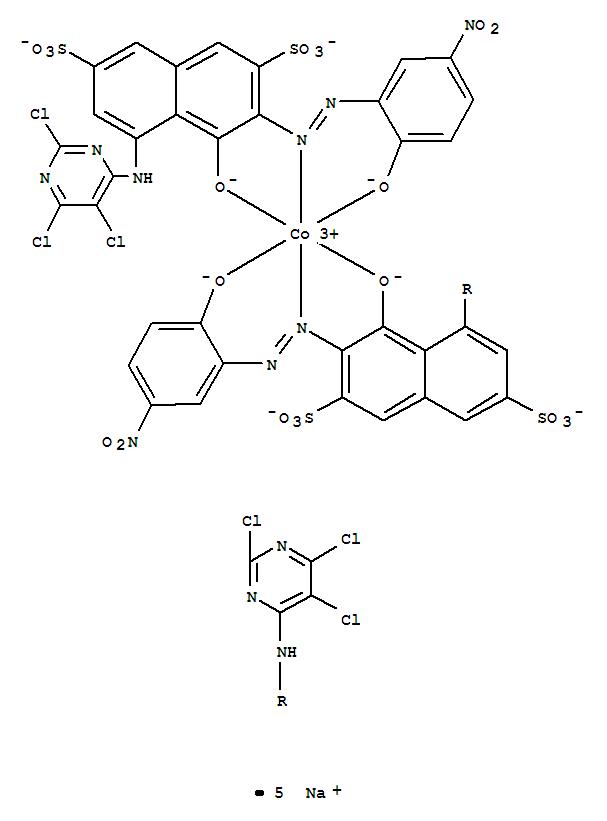 CAS:74196-19-3_二[4(羟基)-3-[[2-(羟基-5-硝基苯基]偶氮]-5-[(2,5,6-三氯-4-嘧啶基)氨基]-2,7-萘二磺酸根合(4-)]钴酸(5-)?的分子结构