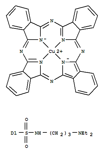 CAS:93971-95-0_29H,31H-酞菁磺酰胺-N-[3-(二乙氨基)丙基]铜络合物的分子结构